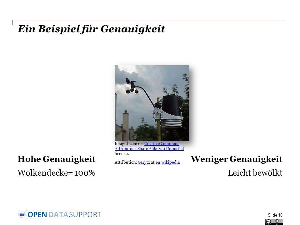 Ein Beispiel für Genauigkeit Hohe Genauigkeit Wolkendecke= 100% Weniger Genauigkeit Leicht bewölkt Slide 10 Image licence = Creative Commons Attributi