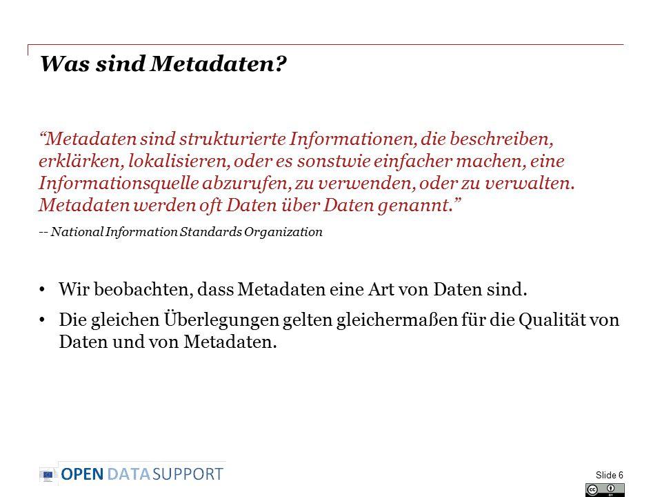 Best Practices Best Practices für die Veröffentlichung von hochwertigen Daten und Metadaten Slide 27