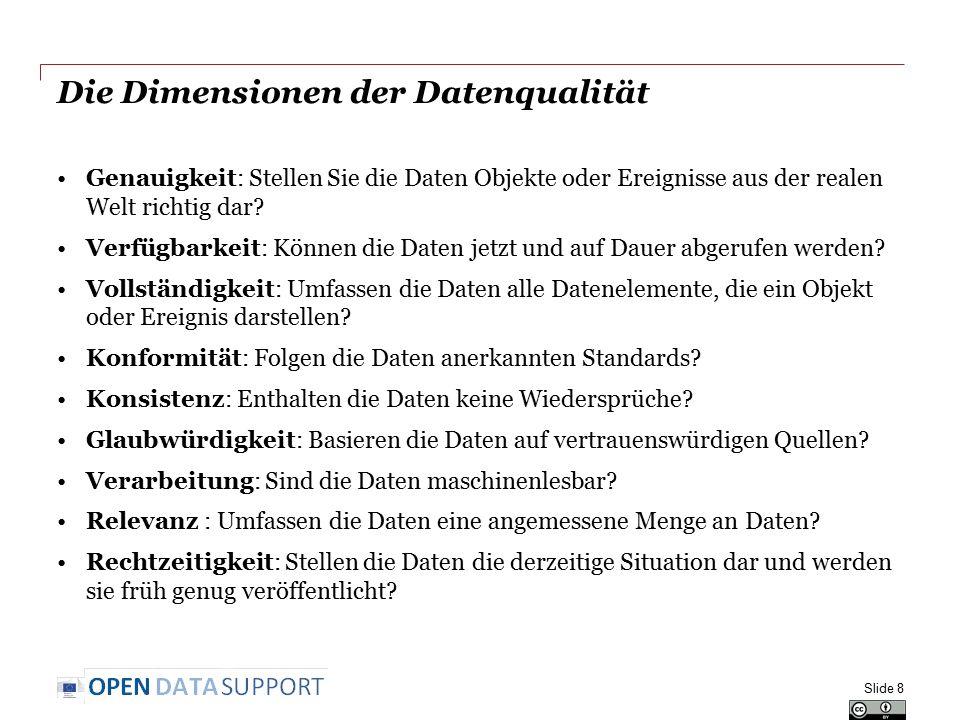 Opquast: 72 Good Practices für Open Data Einige Beispiele Slide 29 Siehe auch: http://checklists.opquast.com/en/opendata Siehe auch: http://checklists.opquast.com/en/opendata