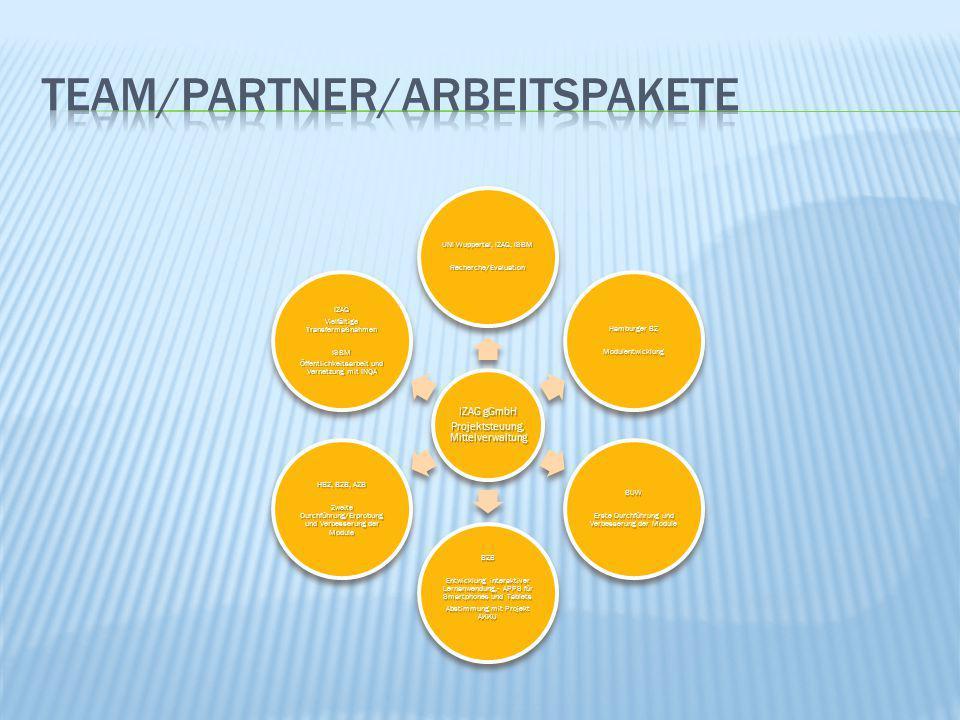 IZAG gGmbH Projektsteuung, Mittelverwaltung UNI Wuppertal, IZAG, ISBM Recherche/Evaluation Hamburger BZ Modulentwicklung BUW Erste Durchführung und Ve