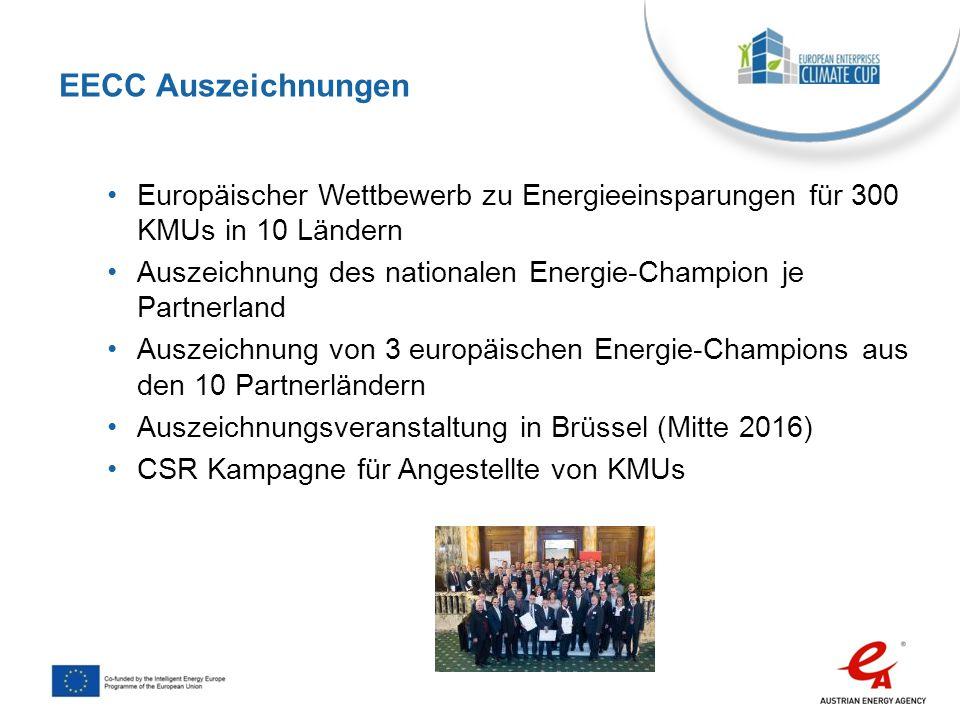 Europäischer Wettbewerb zu Energieeinsparungen für 300 KMUs in 10 Ländern Auszeichnung des nationalen Energie-Champion je Partnerland Auszeichnung von