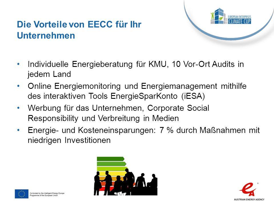 Bewertung: Monatliche Dateneingabe in das Monitoring Tool iESA Bereitstellen von Energierechnungen Ausfüllen des Fragebogens für Energieaudit Nachverfolgung des Energieverbrauchs auf iESA Implementierung: Festlegen von Energieeffizienz Maßnahmen (technisch und Verhalten) Bestimmung eines Energieagenten als Kontakt zu EECC Energieagent nimmt teil an EECC Workshops zu Energieeffizienz und Mitarbeiter Motivation Kommunikation: Motivation der Angestellten zu Verhaltensänderungen und Anwendung von Tools der Kampagne Information zu EECC über die internen Kommunikationskanäle Weitergeben von Erfolgsgeschichten Beitrag des Unternehmens