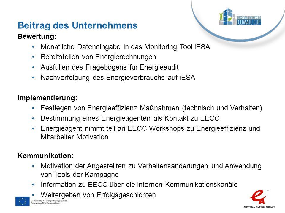 Bewertung: Monatliche Dateneingabe in das Monitoring Tool iESA Bereitstellen von Energierechnungen Ausfüllen des Fragebogens für Energieaudit Nachverf