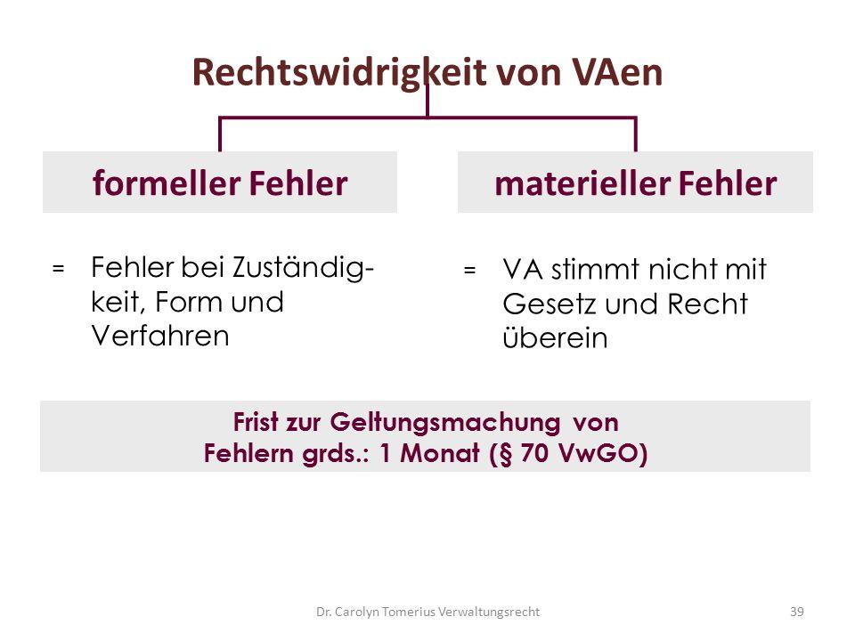 39 Rechtswidrigkeit von VAen formeller Fehler Frist zur Geltungsmachung von Fehlern grds.: 1 Monat (§ 70 VwGO) materieller Fehler = Fehler bei Zuständ