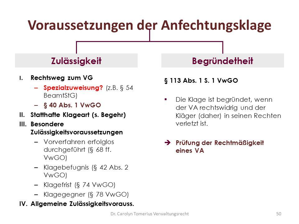 Dr. Carolyn Tomerius Verwaltungsrecht50 Voraussetzungen der Anfechtungsklage I. Rechtsweg zum VG – Spezialzuweisung? (z.B. § 54 BeamtStG) – § 40 Abs.