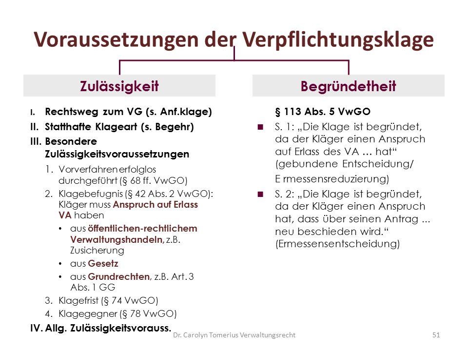 Dr. Carolyn Tomerius Verwaltungsrecht51 Voraussetzungen der Verpflichtungsklage I. Rechtsweg zum VG (s. Anf.klage) II.Statthafte Klageart (s. Begehr)