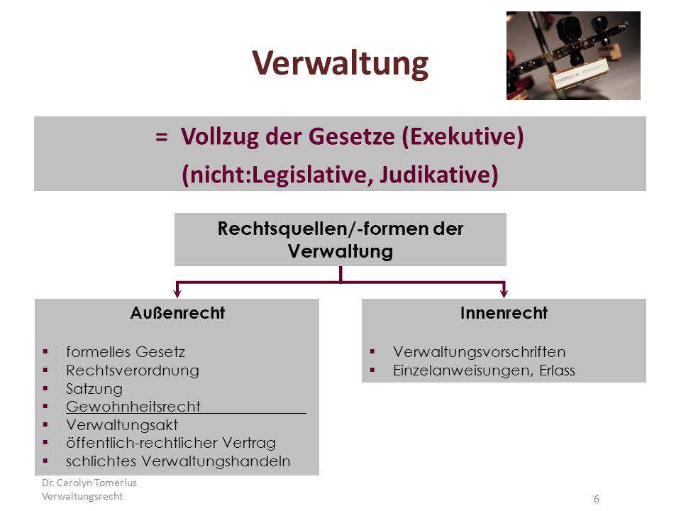 6 Verwaltung =Vollzug der Gesetze (Exekutive) (nicht:Legislative, Judikative) Außenrecht  formelles Gesetz  Rechtsverordnung  Satzung  Gewohnheits