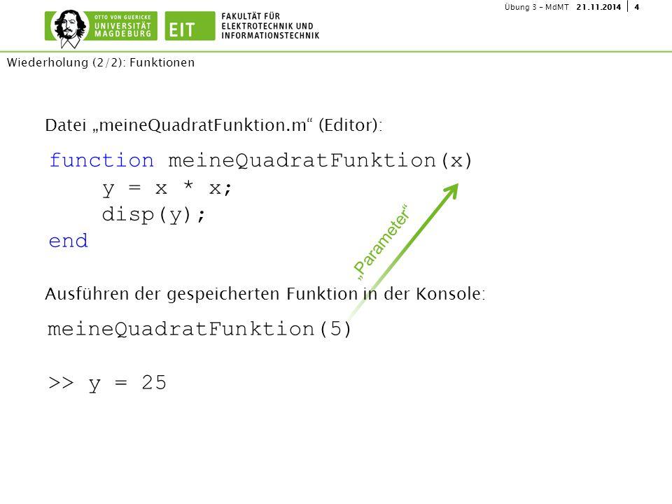 "421.11.2014Übung 3 - MdMT Datei ""meineQuadratFunktion.m"" (Editor): Wiederholung (2/2): Funktionen function meineQuadratFunktion(x) y = x * x; disp(y);"