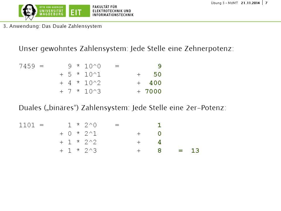 721.11.2014Übung 3 - MdMT Unser gewohntes Zahlensystem: Jede Stelle eine Zehnerpotenz: 7459 = 9 * 10^0 = 9 + 5 * 10^1+ 50 + 4 * 10^2+ 400 + 7 * 10^3+
