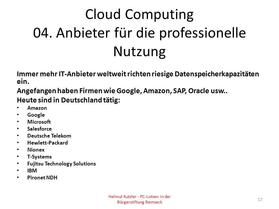 Cloud Computing 04. Anbieter für die professionelle Nutzung Immer mehr IT-Anbieter weltweit richten riesige Datenspeicherkapazitäten ein. Angefangen h