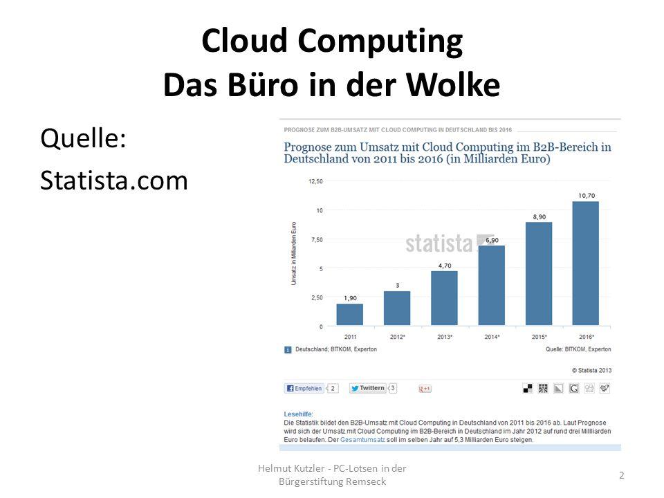 Cloud Computing Das Büro in der Wolke Quelle: Statista.com Helmut Kutzler - PC-Lotsen in der Bürgerstiftung Remseck 2