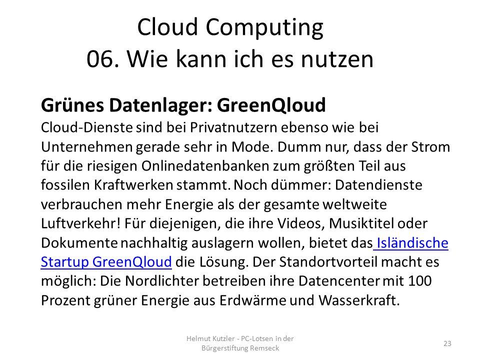 Grünes Datenlager: GreenQloud Cloud-Dienste sind bei Privatnutzern ebenso wie bei Unternehmen gerade sehr in Mode. Dumm nur, dass der Strom für die ri