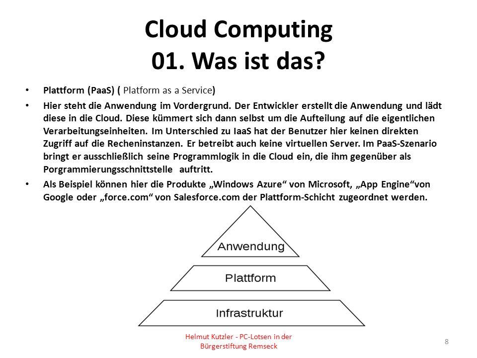 Cloud Computing 01. Was ist das? Plattform (PaaS) ( Platform as a Service) Hier steht die Anwendung im Vordergrund. Der Entwickler erstellt die Anwend