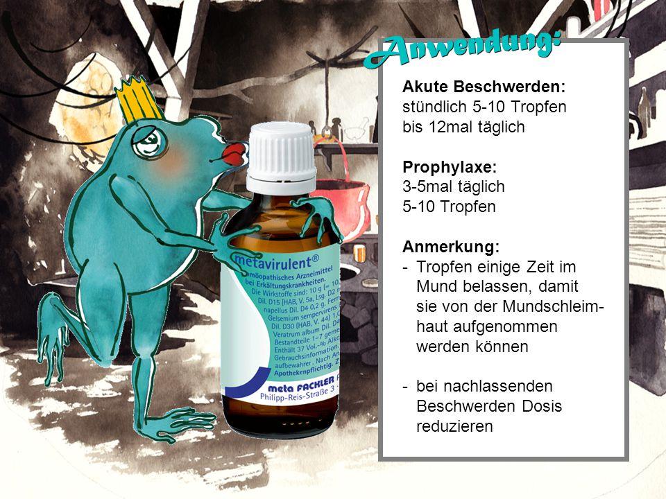 Akute Beschwerden: stündlich 5-10 Tropfen bis 12mal täglich Prophylaxe: 3-5mal täglich 5-10 Tropfen Anmerkung: - Tropfen einige Zeit im Mund belassen, damit sie von der Mundschleim- haut aufgenommen werden können - bei nachlassenden Beschwerden Dosis reduzieren Anwendung: