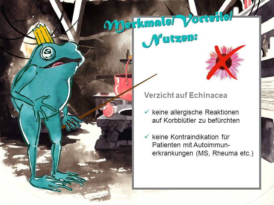 Verzicht auf Echinacea keine allergische Reaktionen auf Korbblütler zu befürchten keine Kontraindikation für Patienten mit Autoimmun- erkrankungen (MS, Rheuma etc.) Merkmale/Vorteile/ Nutzen: