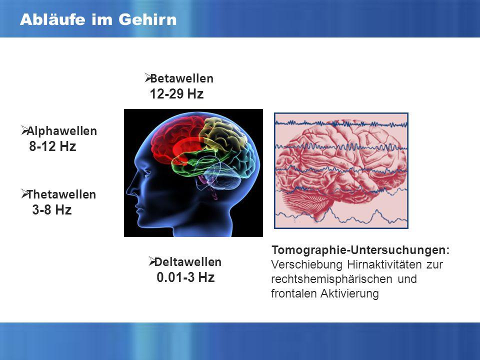 Abläufe im Gehirn  Betawellen 12-29 Hz  Deltawellen 0.01-3 Hz  Thetawellen 3-8 Hz  Alphawellen 8-12 Hz Tomographie-Untersuchungen: Verschiebung Hirnaktivitäten zur rechtshemisphärischen und frontalen Aktivierung