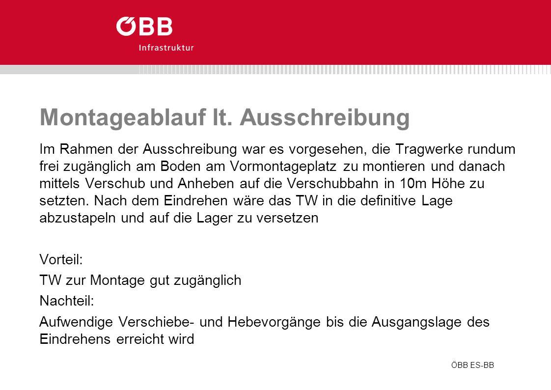 ÖBB ES-BB Montageablauf lt. Ausschreibung Im Rahmen der Ausschreibung war es vorgesehen, die Tragwerke rundum frei zugänglich am Boden am Vormontagepl