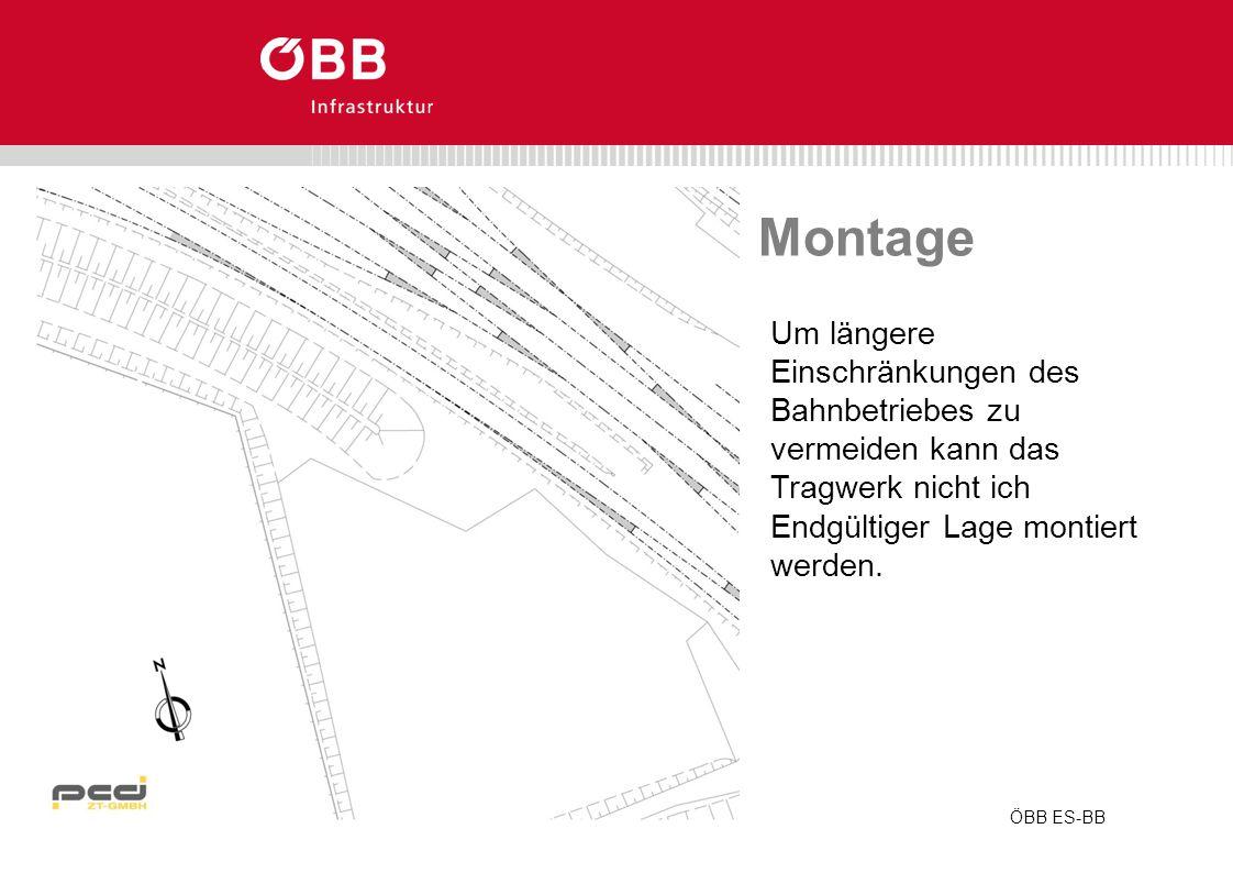 ÖBB ES-BB Montage Um längere Einschränkungen des Bahnbetriebes zu vermeiden kann das Tragwerk nicht ich Endgültiger Lage montiert werden.