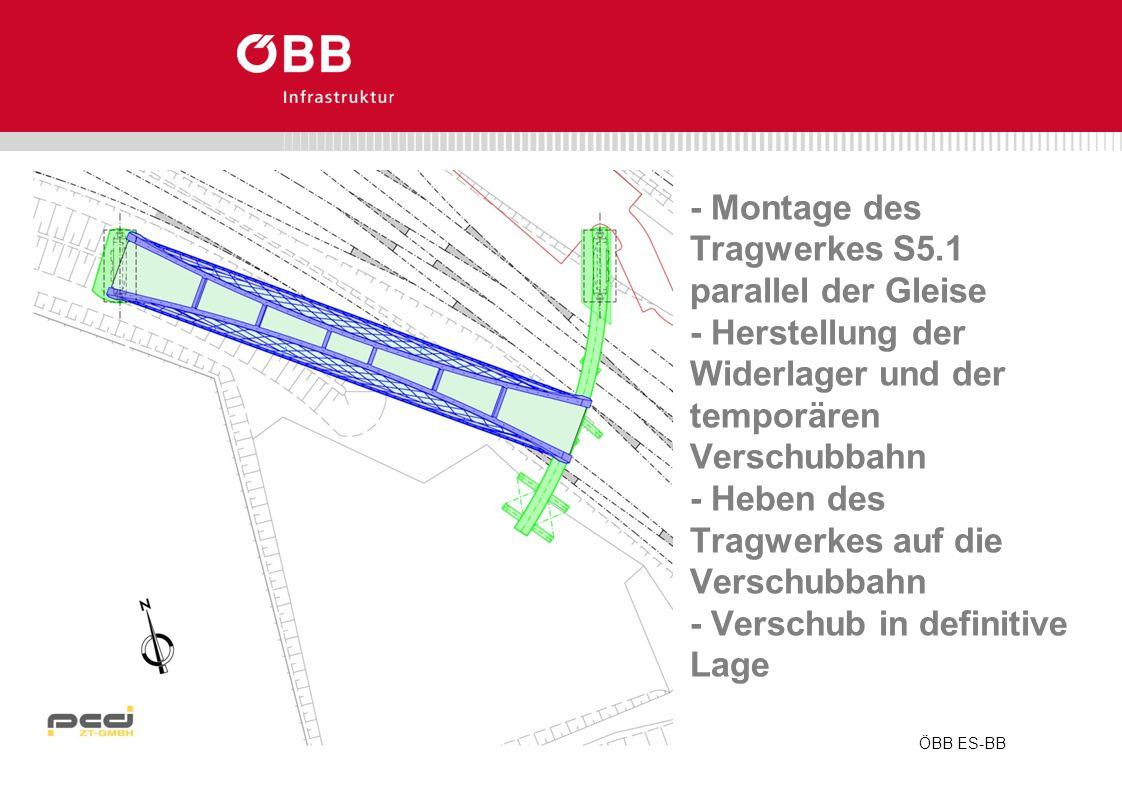 ÖBB ES-BB - Montage des Tragwerkes S5.1 parallel der Gleise - Herstellung der Widerlager und der temporären Verschubbahn - Heben des Tragwerkes auf di