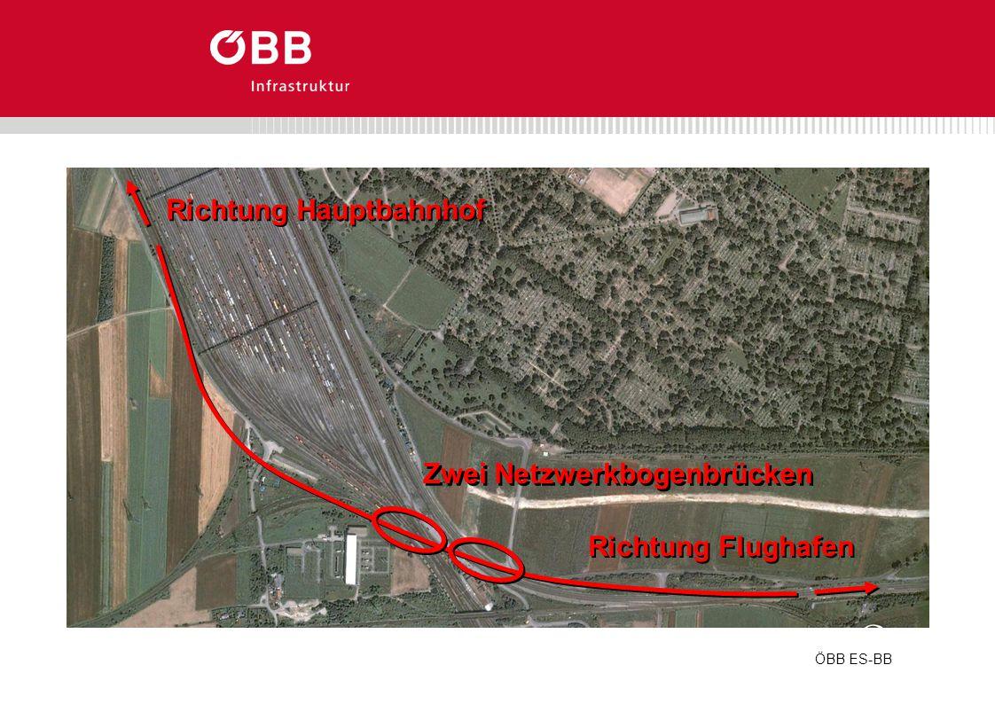 ÖBB ES-BB Richtung Hauptbahnhof Richtung Flughafen Zwei Netzwerkbogenbrücken