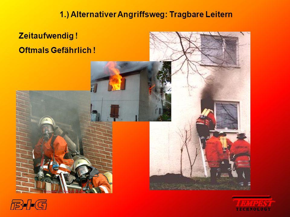 1.) Alternativer Angriffsweg: Tragbare Leitern Zeitaufwendig ! Oftmals Gefährlich !