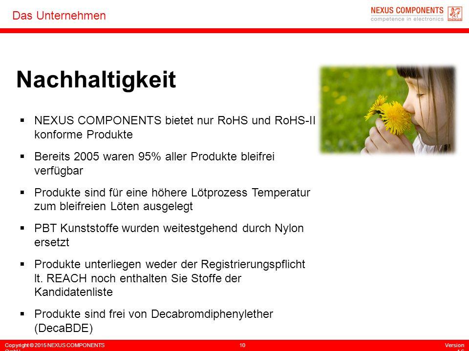 Copyright © 2015 NEXUS COMPONENTS GmbH 10Version 4.6 Das Unternehmen Nachhaltigkeit  NEXUS COMPONENTS bietet nur RoHS und RoHS-II konforme Produkte 
