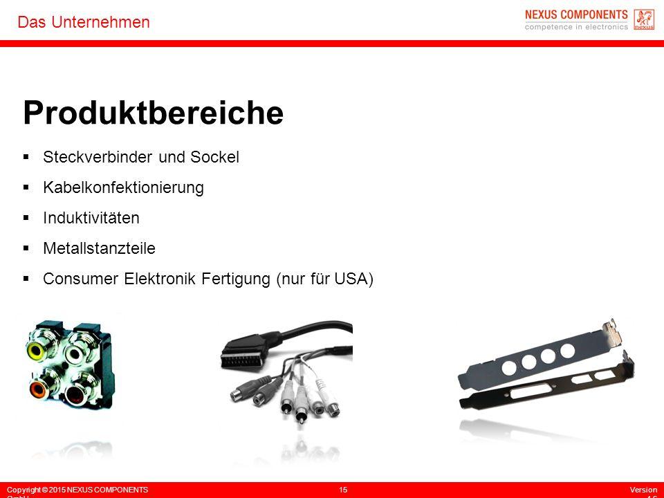 Copyright © 2015 NEXUS COMPONENTS GmbH 15Version 4.6 Das Unternehmen  Steckverbinder und Sockel  Kabelkonfektionierung  Induktivitäten  Metallstan