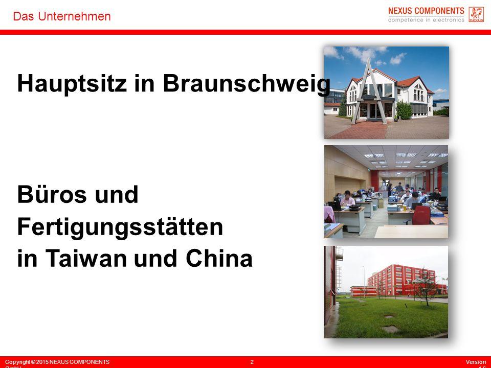 Copyright © 2015 NEXUS COMPONENTS GmbH 2Version 4.6 Das Unternehmen Hauptsitz in Braunschweig Büros und Fertigungsstätten in Taiwan und China