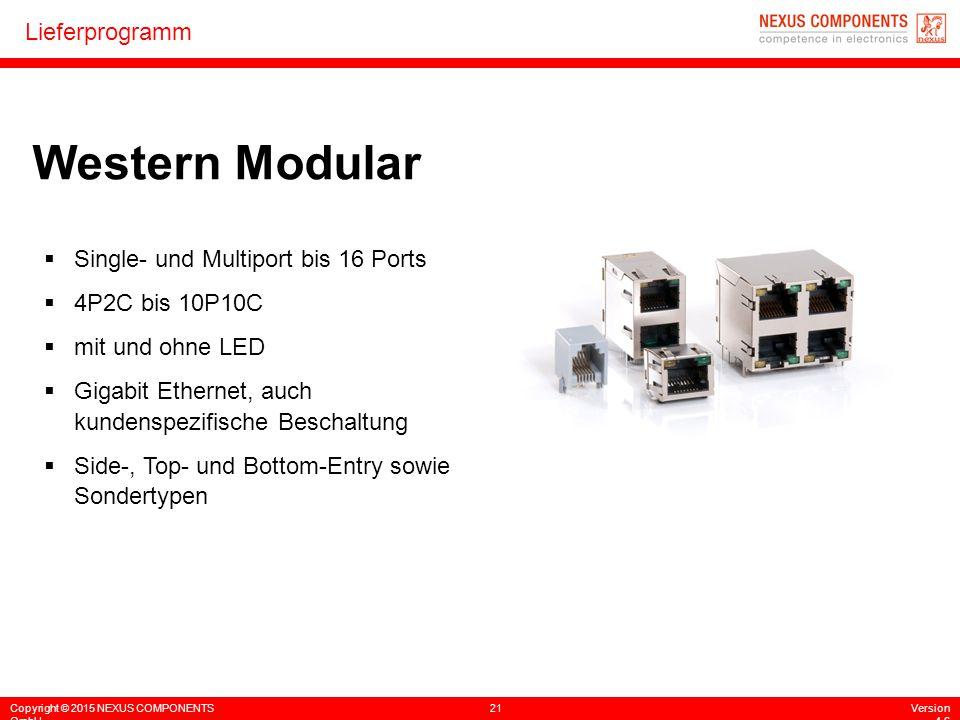 Copyright © 2015 NEXUS COMPONENTS GmbH 21Version 4.6 Lieferprogramm Western Modular  Single- und Multiport bis 16 Ports  4P2C bis 10P10C  mit und o