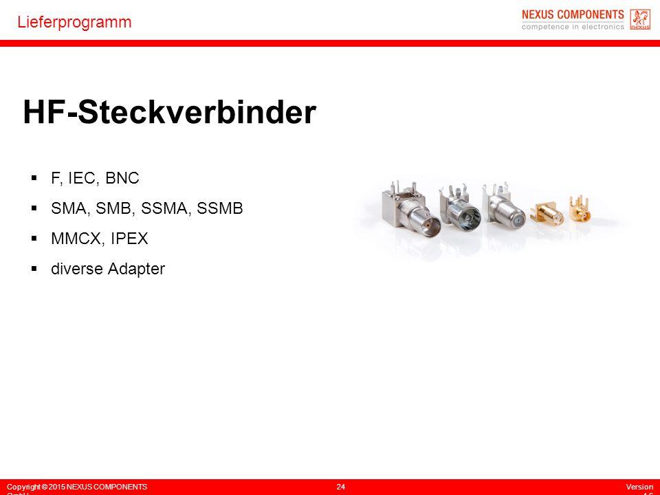 Copyright © 2015 NEXUS COMPONENTS GmbH 24Version 4.6 Lieferprogramm HF-Steckverbinder  F, IEC, BNC  SMA, SMB, SSMA, SSMB  MMCX, IPEX  diverse Adap