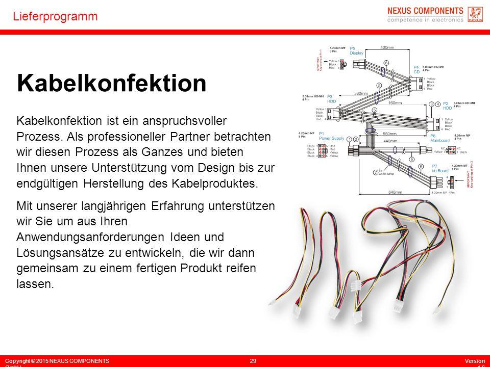 Copyright © 2015 NEXUS COMPONENTS GmbH 29Version 4.6 Lieferprogramm Kabelkonfektion Kabelkonfektion ist ein anspruchsvoller Prozess. Als professionell