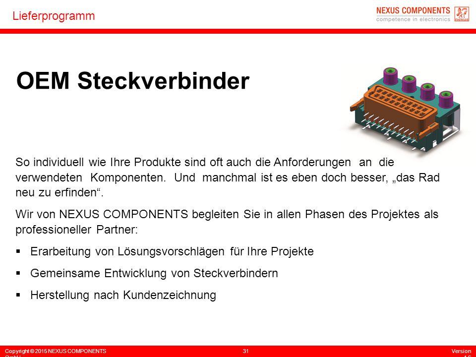 Copyright © 2015 NEXUS COMPONENTS GmbH 31Version 4.6 Lieferprogramm So individuell wie Ihre Produkte sind oft auch die Anforderungen an die verwendete