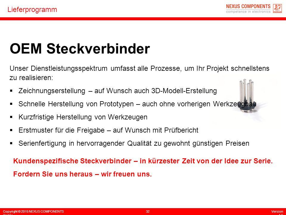 Copyright © 2015 NEXUS COMPONENTS GmbH 32Version 4.6 Lieferprogramm Unser Dienstleistungsspektrum umfasst alle Prozesse, um Ihr Projekt schnellstens z
