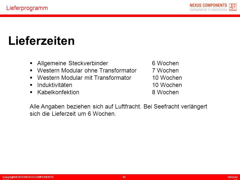 Copyright © 2015 NEXUS COMPONENTS GmbH 33Version 4.6 Lieferprogramm Lieferzeiten  Allgemeine Steckverbinder6 Wochen  Western Modular ohne Transforma