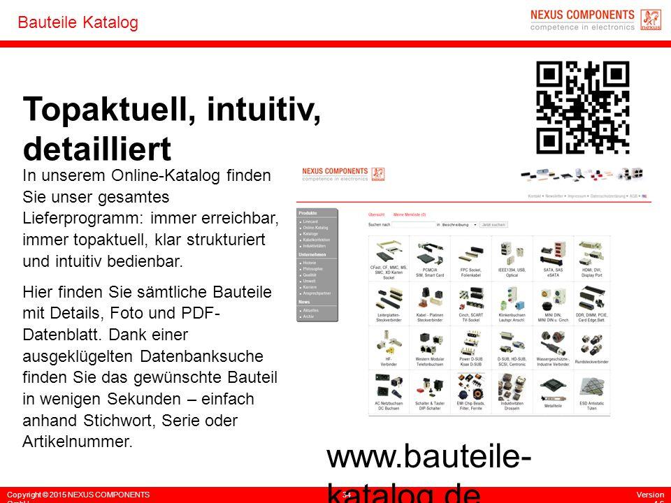 Copyright © 2015 NEXUS COMPONENTS GmbH 34Version 4.6 Bauteile Katalog Topaktuell, intuitiv, detailliert In unserem Online-Katalog finden Sie unser ges