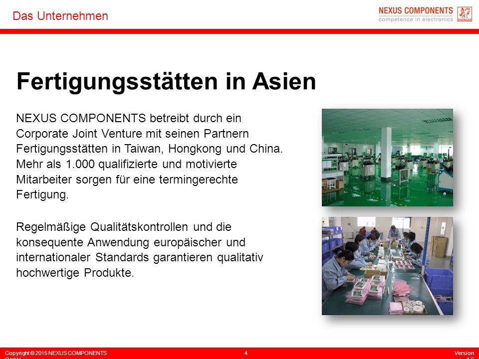 Copyright © 2015 NEXUS COMPONENTS GmbH 4Version 4.6 Das Unternehmen Fertigungsstätten in Asien NEXUS COMPONENTS betreibt durch ein Corporate Joint Ven