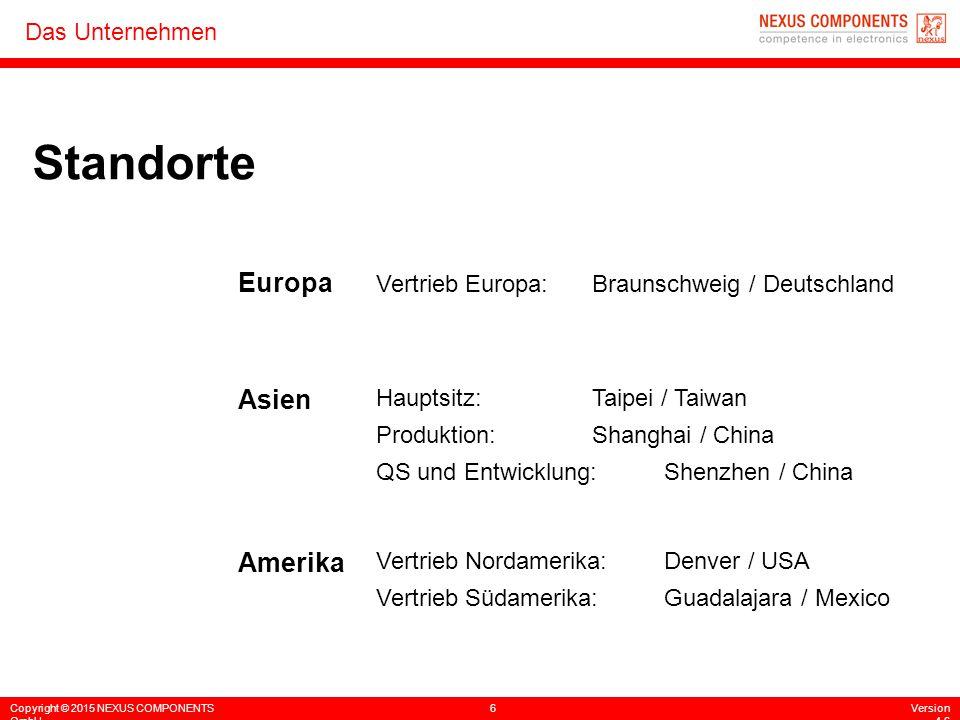 Copyright © 2015 NEXUS COMPONENTS GmbH 6Version 4.6 Das Unternehmen Standorte Vertrieb Europa:Braunschweig / Deutschland Hauptsitz:Taipei / Taiwan Pro