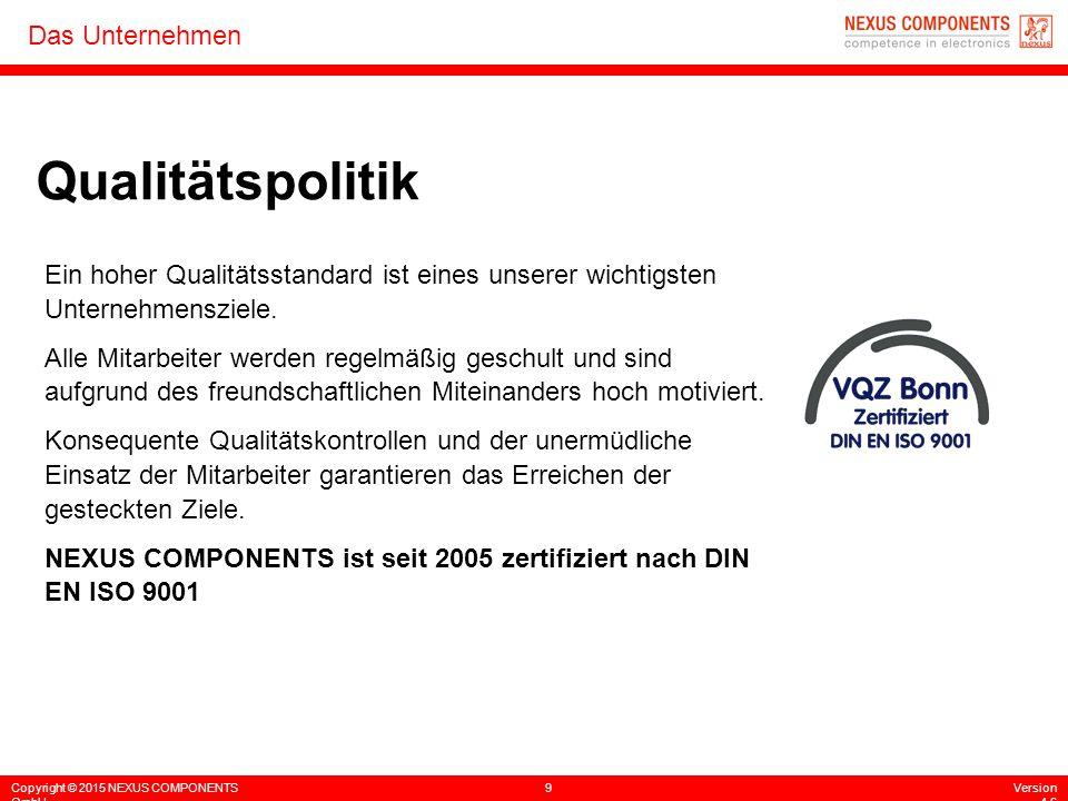 Copyright © 2015 NEXUS COMPONENTS GmbH 9Version 4.6 Das Unternehmen Qualitätspolitik Ein hoher Qualitätsstandard ist eines unserer wichtigsten Unterne