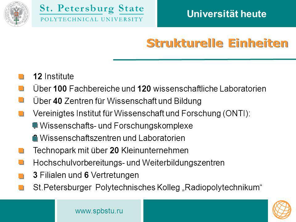 www.spbstu.ru Strukturelle Einheiten Universität heute 12 Institute Über 100 Fachbereiche und 120 wissenschaftliche Laboratorien Über 40 Zentren für W