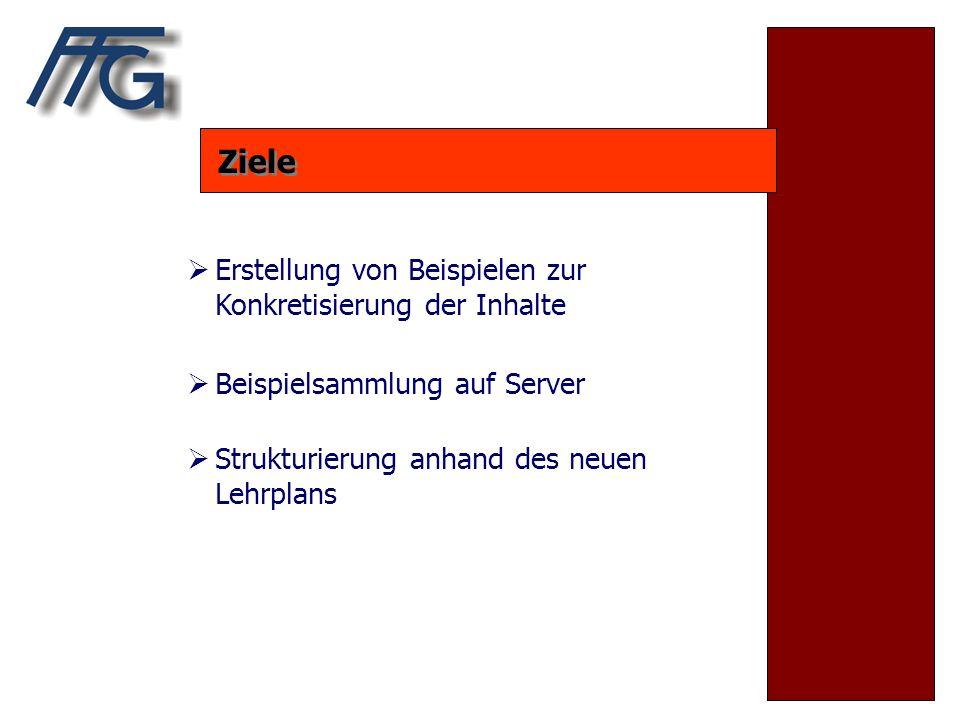 Ziele  Erstellung von Beispielen zur Konkretisierung der Inhalte  Beispielsammlung auf Server  Strukturierung anhand des neuen Lehrplans