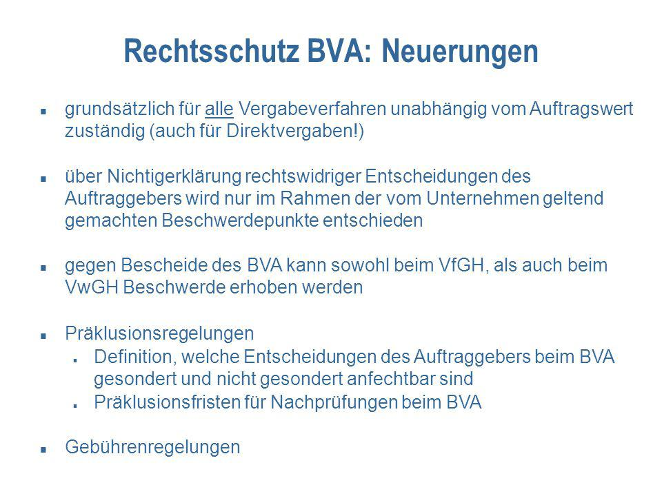 Rechtsschutz BVA: Neuerungen grundsätzlich für alle Vergabeverfahren unabhängig vom Auftragswert zuständig (auch für Direktvergaben!) über Nichtigerkl