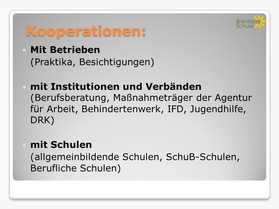 Kooperationen: Mit Betrieben (Praktika, Besichtigungen) mit Institutionen und Verbänden (Berufsberatung, Maßnahmeträger der Agentur für Arbeit, Behind