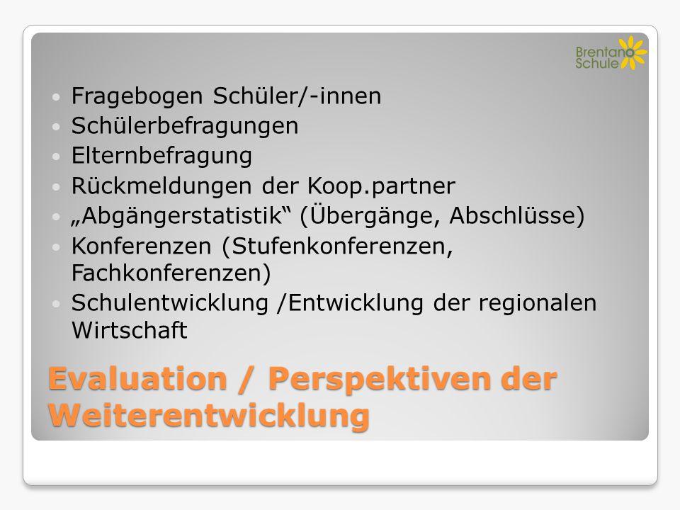 """Evaluation / Perspektiven der Weiterentwicklung Fragebogen Schüler/-innen Schülerbefragungen Elternbefragung Rückmeldungen der Koop.partner """"Abgängers"""
