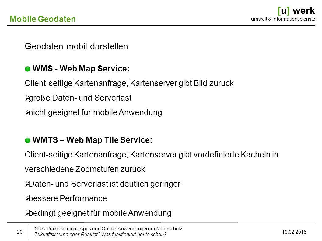 [u] werk umwelt & informationsdienste Mobile Geodaten Geodaten mobil darstellen WMS - Web Map Service: Client-seitige Kartenanfrage, Kartenserver gibt