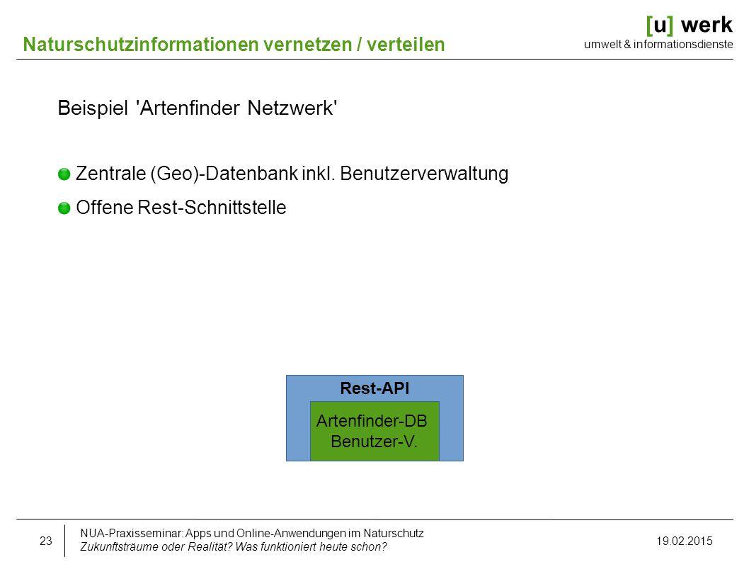 [u] werk umwelt & informationsdienste Naturschutzinformationen vernetzen / verteilen Beispiel 'Artenfinder Netzwerk' Zentrale (Geo)-Datenbank inkl. Be