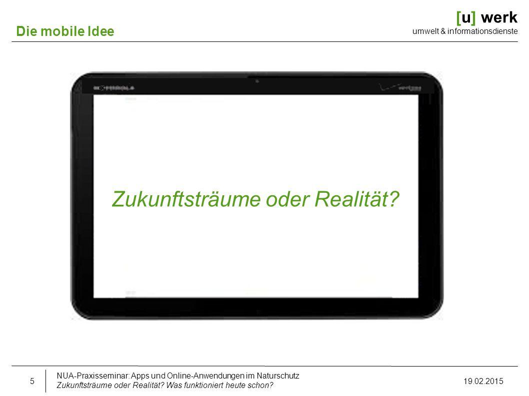 [u] werk umwelt & informationsdienste Die mobile Idee Zukunftsträume oder Realität? NUA-Praxisseminar: Apps und Online-Anwendungen im Naturschutz Zuku