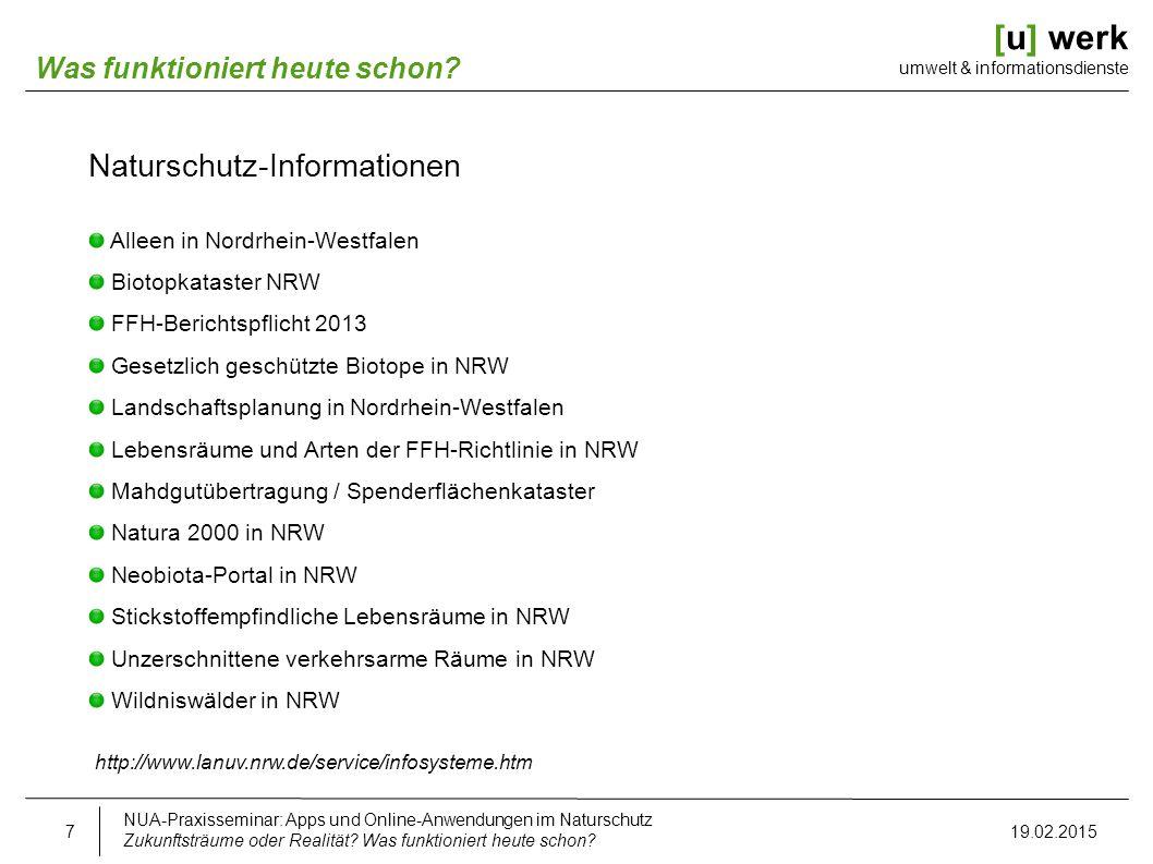 [u] werk umwelt & informationsdienste Was funktioniert heute schon? Naturschutz-Informationen Alleen in Nordrhein-Westfalen Biotopkataster NRW FFH-Ber