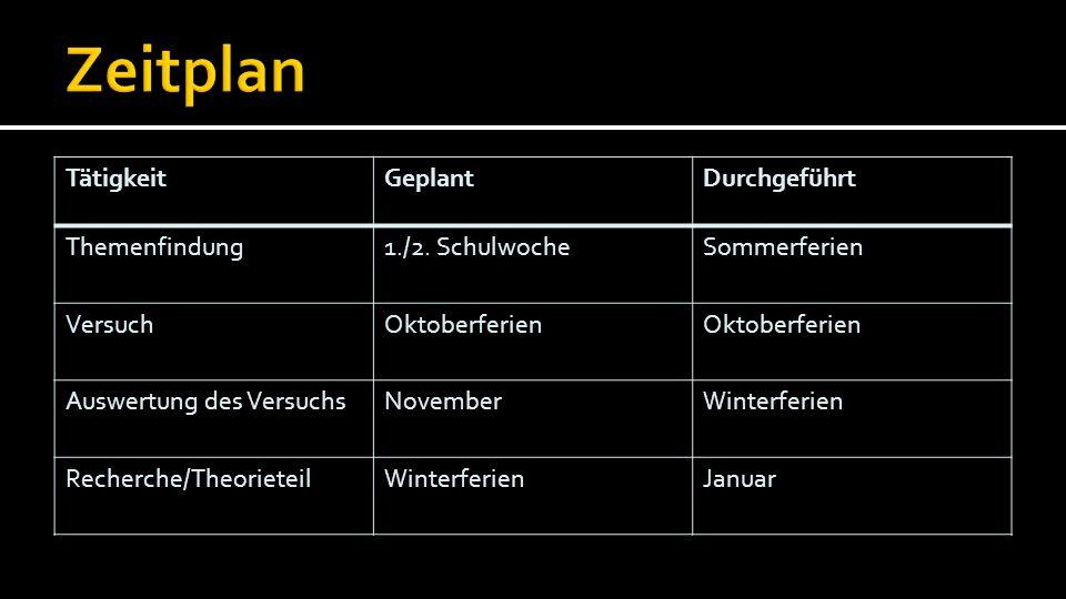 TätigkeitGeplantDurchgeführt Themenfindung1./2.