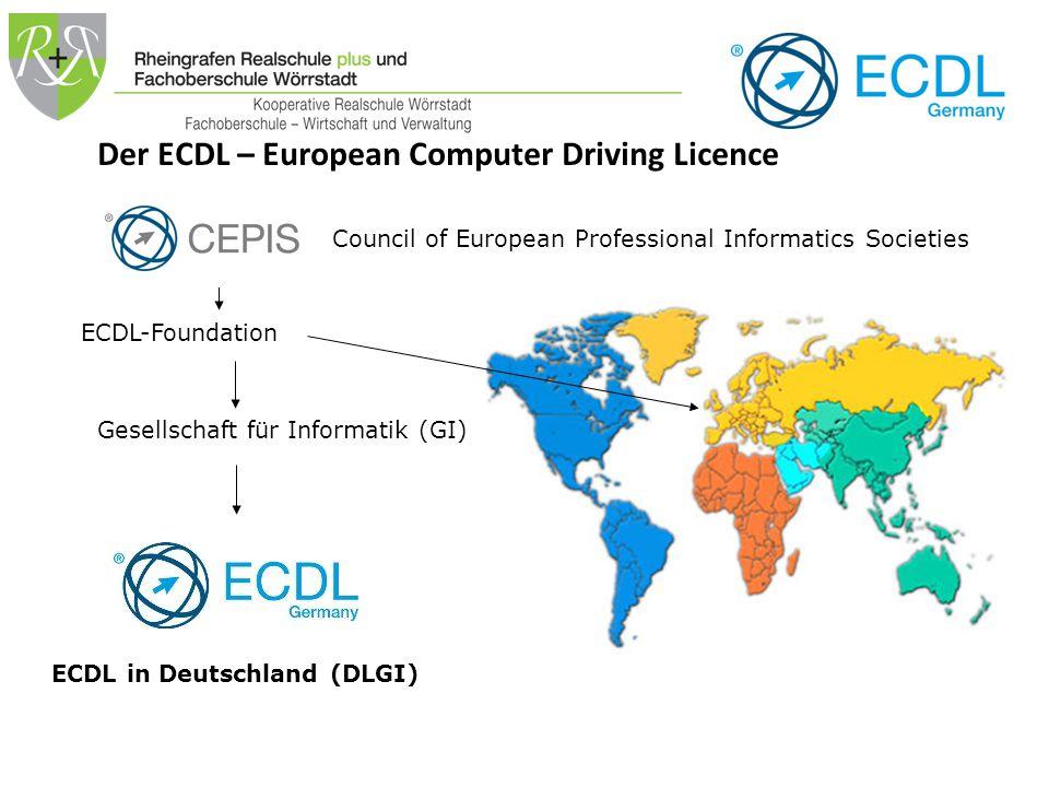 Weltweit eingeführt … ein weltweiter Standard unter dem Dach der Europäischen Computergesellschaften (CEPIS) ECDL/ICDL 148 Länder-Organisationen > 30.000 Prüfungszentren (1.500 in Deutschland) > 38 Sprachen > 12.000.000 Kandidaten