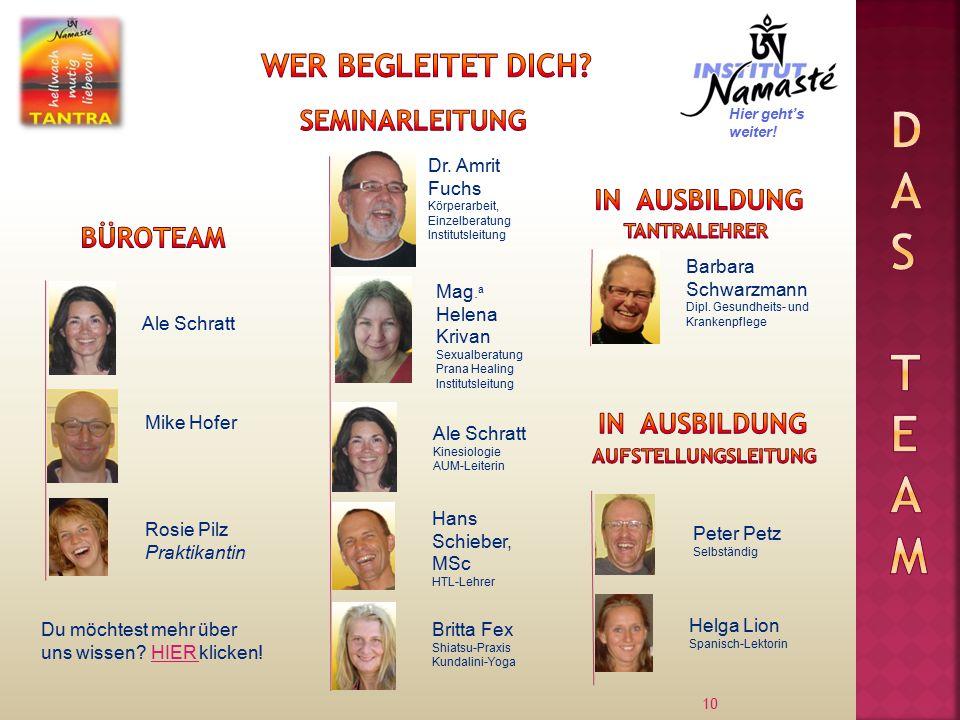 10 Ale Schratt Dr. Amrit Fuchs Körperarbeit, Einzelberatung Institutsleitung Mike Hofer Mag.